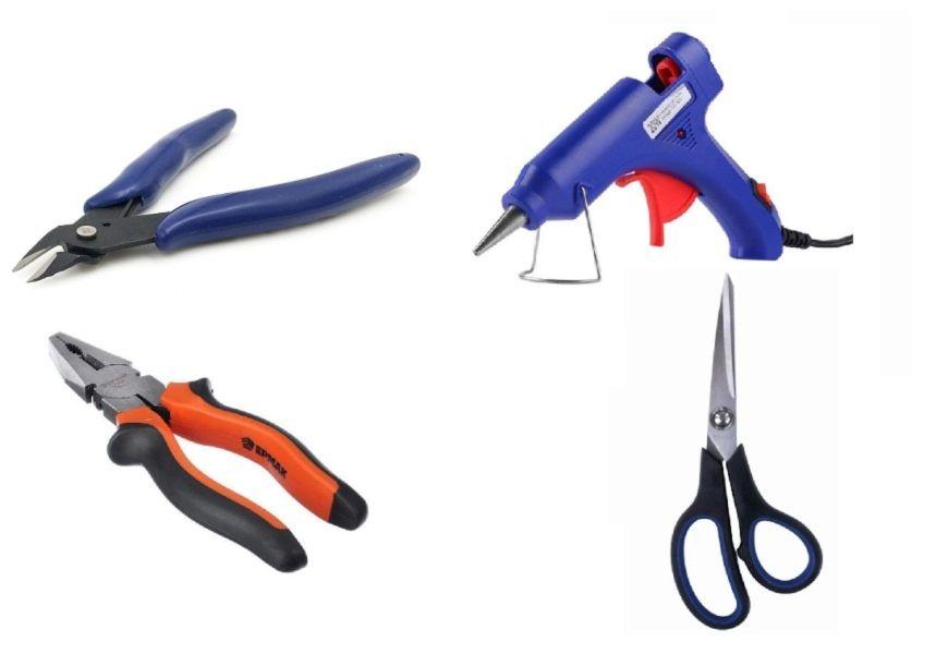 Плоскогубцы, ножницы, термопистолет и кусачка