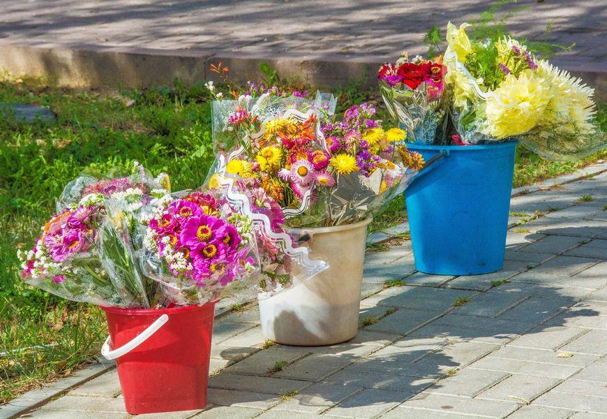 Цветы в ведрах