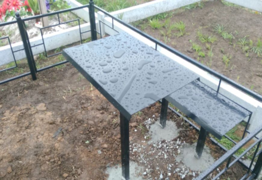 Скамейка и столик своими руками на кладбище: размеры и чертежи из металла, дерева, камня, бетона и пластика