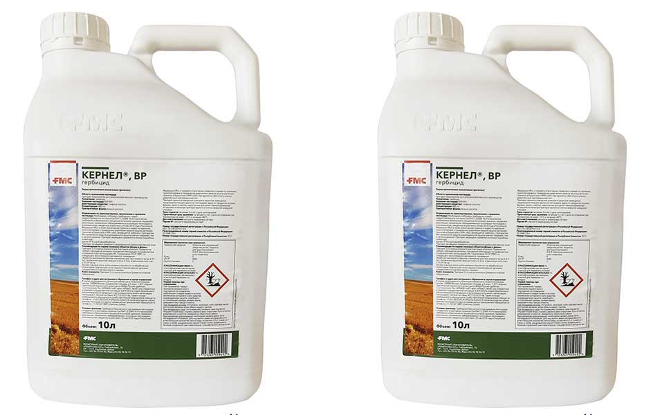 Внешний вид упаковок гербицидного средства Кернел