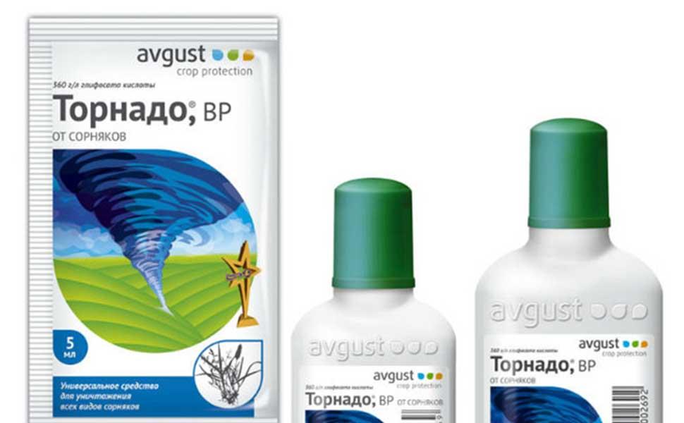 Внешний вид упаковок гербицидного средства Торнадо